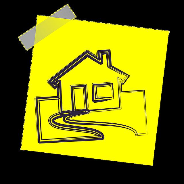 žlutý papírek, nákres domku